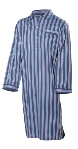 Men's Luxurious Cotton Nightshirt - Navy, Red, Blue and Green Stripe