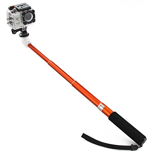 Flylinktech® Orange Camare Extender Pole Telescoping Handheld Self-Portrait 52Cm Monopod For Gopro Hero And All Compact Camera