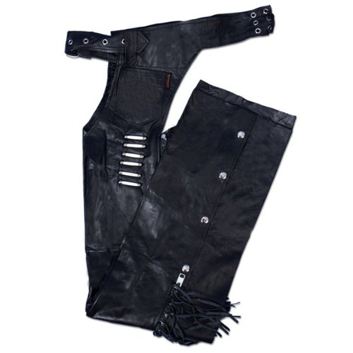 Hot Leathers Women's Leather Chaps with Bone and Fringe (Black, XX-Small)