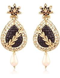 I Jewels Gold Plated Traditional Designer Earrings For Women ED09B (Black)