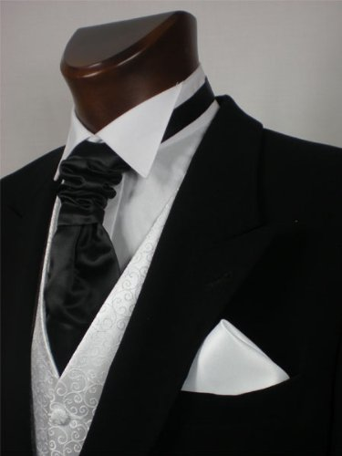 Mens or Boys Scrunchie Cravat Black Matching hankie available