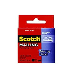 Scotch Tear By Hand Mailing Packaging Tape, 2 Pack
