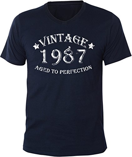 Mister Merchandise Uomo V-Neck T-Shirt Vintage 1987 - Aged to Perfection , Men Maglietta Camicia, Taglia: S, Color: Navy