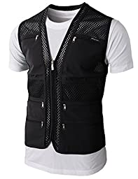 H2H Mens Casual Work Utility Hunting Travels Sports Mesh Vest With Pockets BLACK US XXL/Asia 3XL (KMOV086)