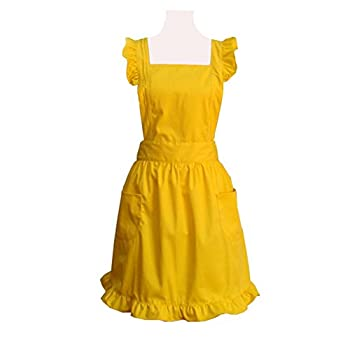 Hyzrz Cute Lovely Cotton Retro Kitchen Cooking Aprons for Women Girls Vintage Baking Sexy Victorian Apron with Pockets for Gift (Yellow)