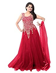 Ethnicbasket Women's Net Ethnic Semi-Stitched Gown (BE234014D_Pink)