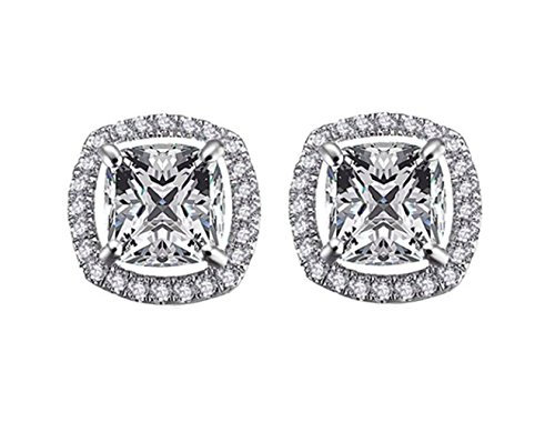 2.00 Carat Ornate Cushion Square Cut 7Mm Aaa Cubic Zirconia Stud Earrings Fashion Jewelry For Women 15G