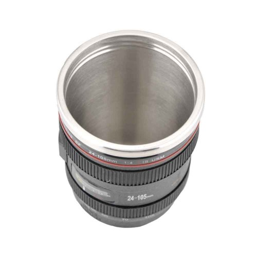 Best Camera Lens Thermos Stainless Steel Cup/ Mug for Coffee or Tea (Black)