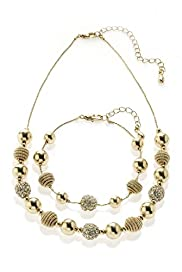 Gold Plated Sandblast Necklace & Bracelet Set