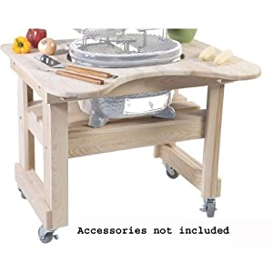 Primo 605 Cypress Wood Table for Primo Oval Junior Grill, 4 Wheels by Primo