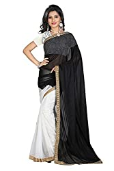 OMKAR CLUB New Black And White Party Wear Saree