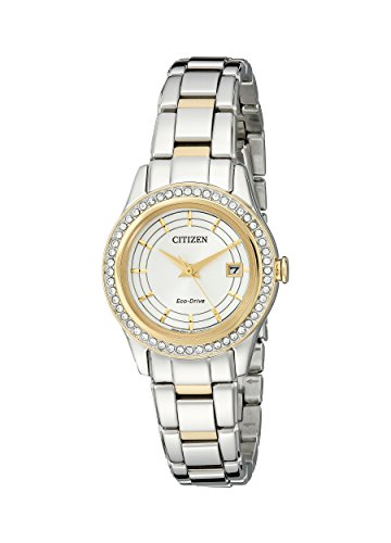 시티즌 에코 드라이브 FE1124-58A 여성 시계 Citizen Womens Eco-Drive Stainless Steel Watch with Crystal Accents and Date, FE1124-58A