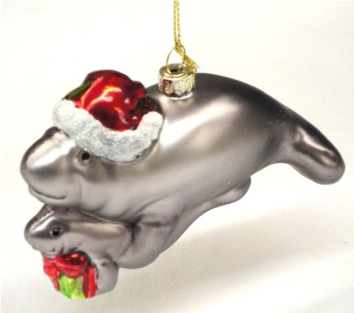 Christmas Ornament – Blown Glass Manatee Mom and Baby – Mom Wearing a Santa Hat and Baby Holding Presents 4.75″
