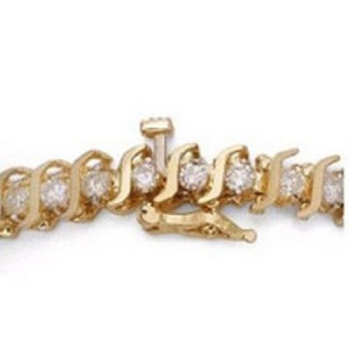 2.00 Ctw S-Style Yellow Gold Diamond Bracelet.