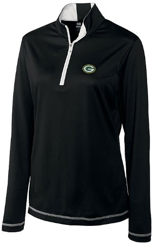 NFL Green Bay Packers Women's CB DryTec Long Sleeve Choice Zip Mock Top, Black, XX-Large at Amazon.com
