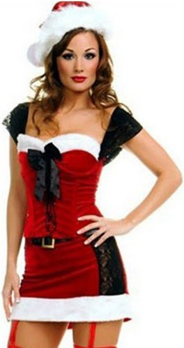 ToBeInStyle Women's 2 Piece Miss Naughty Christmas Lace-Up Santa Outfit