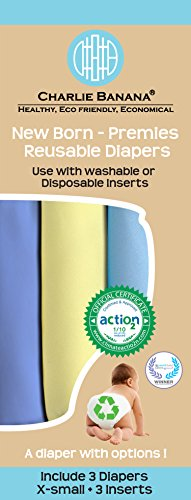 Charlie Banana 2-in-1 Reusable Diapers, Baby Blue, X-Small