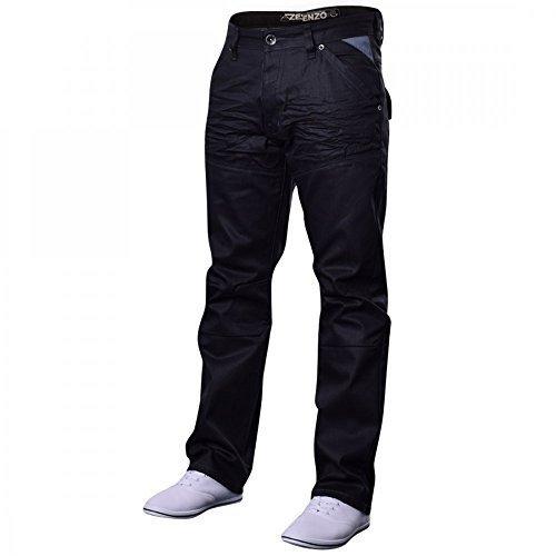 enzo-hombre-vaqueros-de-diseno-azul-claro-prelavado-ez243-algodon-negro-denim-recubierto-ez329-100-a