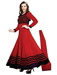 Red Georgette Lace Work Semi Stitched Salwar Suit