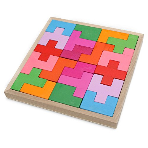 Arshiner Geometric Sorting Board Wooden Shape Sorter Building Block Toy 40PCS Puzzle Bricks for kids
