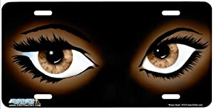 """375-""""Brown Eyes"""" Airbrushed License Plate Car Auto Novelty Front Tag by Jason Fetko from Airstrike"""