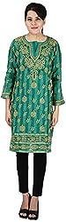Drishti Lucknowi Chikan Women's Cotton Kurta (DLC-K07, Green, XL)