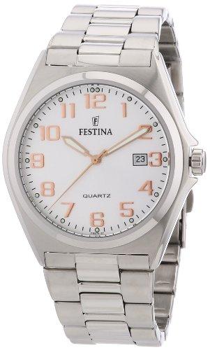 Festina F16374/7 - Reloj analógico de cuarzo para hombre con correa de acero inoxidable, color plateado