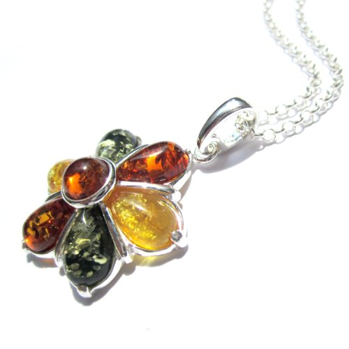 Multicolor Amber Sterling Silver Flower Pendant Rolo Chain 18 Inches