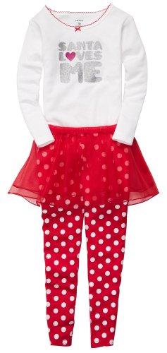 Carter'S Girls' 3 Pc L/S Holiday Dress Up Set - Santa Loves Me - 5 front-914704