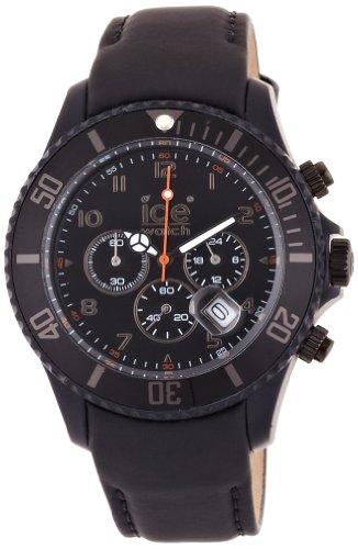 Ice-Watch Men's Chronograph Black Big Leather Strap Watch CH.BK.B.L