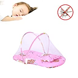 BSL Anti-Mosquito Summer Portable Folding Infant Bed Mosquito Net Mattress Baby Crib Mosquito Netting Cushion (Red)