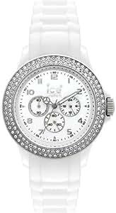 ICE-Watch - Montre femme - Quartz Analogique - Stone Multifunction - White Silver - Small - Cadran Blanc - Bracelet Silicone Blanc - MF.WS.S.S.10