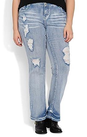 Deb Junior Plus Size Amethyst Slim Bootcut Jean with Super Light Destructed Wash Light Denim 14