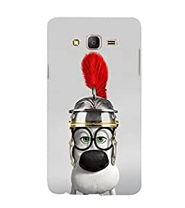 Cute Animated Puppy with Red feather 3D Hard Polycarbonate Designer Back Case Cover for Samsung Galaxy On5 :: Samsung Galaxy On 5 G550FY
