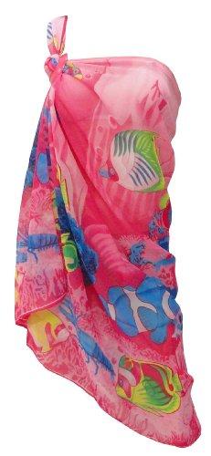 La Leela Sea Printed Sheer Beach Sarong Pareo Pink