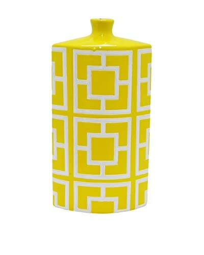 Three Hands Rectangular Geometric Ceramic Vase, Yellow/White