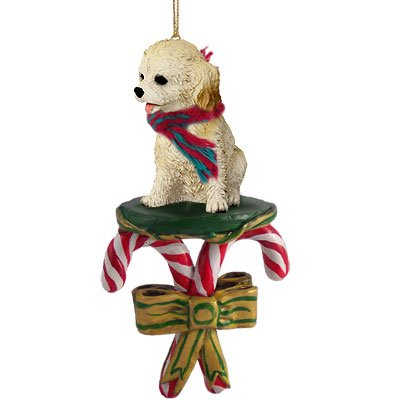 Cockapoo Blond Candy Cane Ornament (Set of 3)