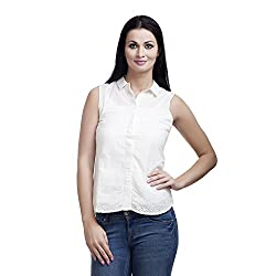 MansiCollections Women's Solid Casual White Shirt (42)