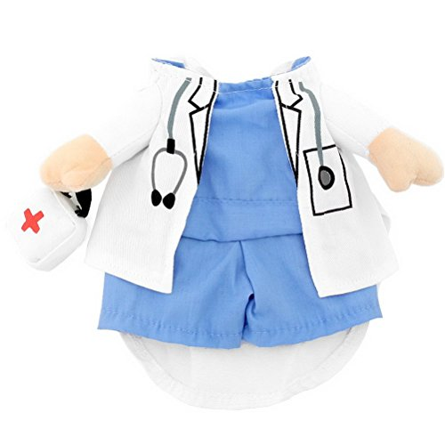 PETLOVE Small Dog Clothes Girl Boy Fancy Dress Print Doctor Suit Dog Costume Coat M (Doctor Dog Costume)