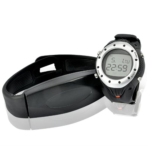 Cheap BW Heart Rate Monitor Watch – 30 Meter Waterproof, Chest Belt Included – Black + Silver (watch plate) (G444)