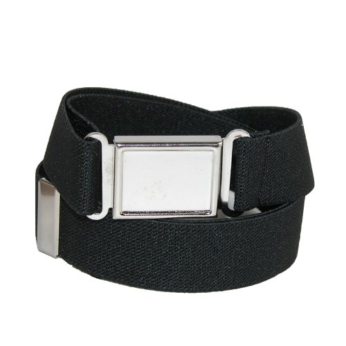 CTM® Kids Elastic 1 Inch Adjustable Belt with Magnetic Buckle, Black