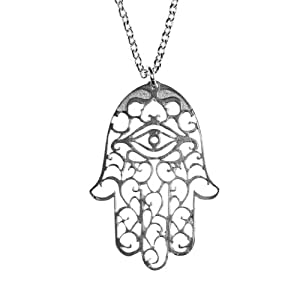 Small Hamsa Silver Dipped Pendant Necklace on Rolo Chain