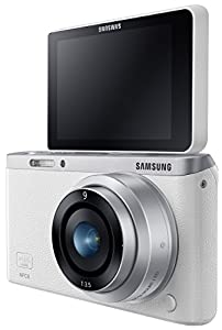 """Samsung NX Mini 20.5MP CMOS Smart WiFi & NFC Compact Interchangeable Lens Digital Camera with 9mm Lens and 3"""" Flip Up LCD Touch Screen (White)"""