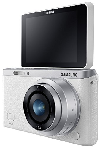Samsung NX Mini 20.5MP CMOS Smart WiFi & NFC Mirrorless Digital Camera with 9mm Lens and 3″ Flip Up LCD Touch Screen (White)