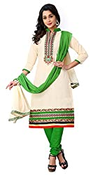 Justkartit Women's Unstitched Off-White & Green Colour Beautiful Churidar Salwar suit Set / Party & Festival Wear Chudidar Salwar Kameez (Latest Ramadan & Eid Salwar Kameez Collection)