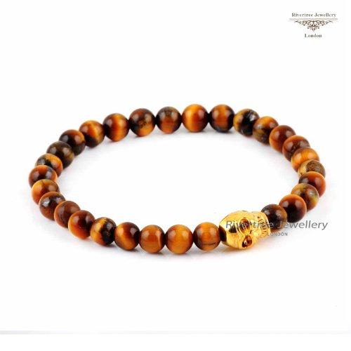 Rivertree London Tiger Eye Beaded skull bracelet B004 tiger eye semi-precious stones