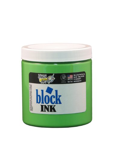 Handy Art 309-158 Water Soluble Block Printing Ink Tube, Fluorescent Green, 8-Ounce