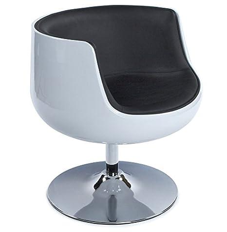 ALTEREGO-Silla Design 'Deko' bola rotativa-Carcasa blanca, piel sintética negro