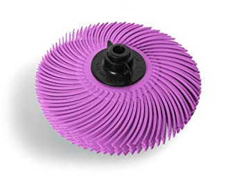 JoolTool Scotch-Brite Pink Radial Bristle Brush Assembled with Plastic Tapered Mandrel Hub, Pumice