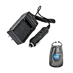 Digital Replacement Mini Battery Travel Charger for Specific Digital Camera and Camcorder Models / Compatible with Nikon EN-EL11 Olympus Li-60B Pentax D-LI78 Ricoh DB-80 Nikon CoolPix: s550 S560 Olympus: FE-370 Pentax Optio: M50 M60 V20 W60 W80 Ricoh: Caplio R50 with Intelligent-Charge Technology - Includes Car Adapter and Leatherette Camera / Lens Accessories Pouch
